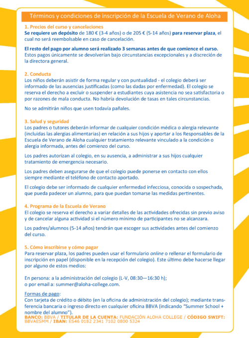 Spanish Terms & Conditions Summer School 2019